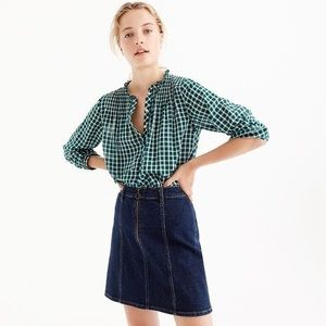 J.Crew Ruffle Popover Gingham Green Size 6P
